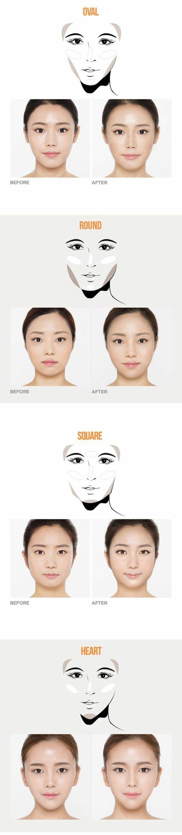 maquillage asiatique selon la forme du visage, maquillage yeux bridés