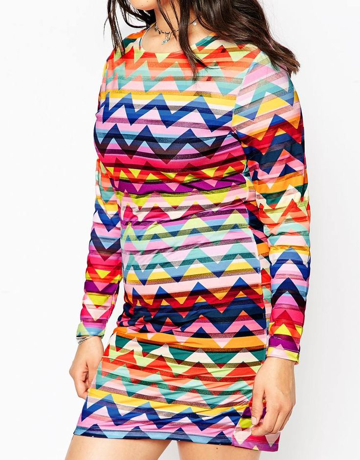 Image 3 of ASOS CURVE Festival Dress in Chevron Print