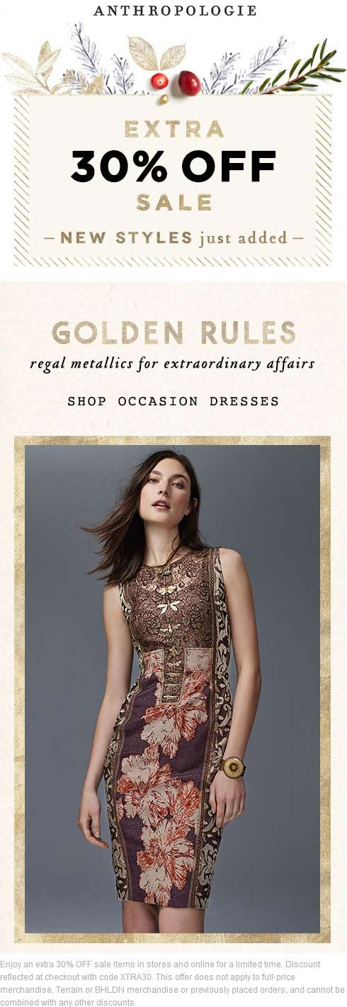Pinned December 14th: Extra 30% off at #Anthropologie or online via promo code XTRA30 #coupon via The #Coupons App