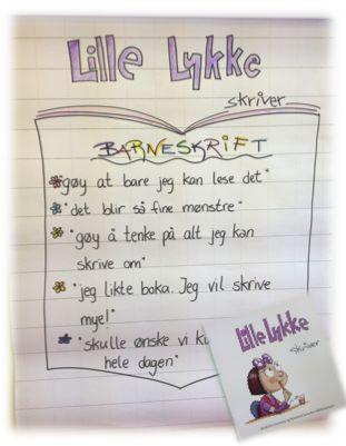 """PY 1 - Uke 39; Denne uken hedde en av våre elever med seg en bok som vi har jobbet med. Boken heter """"Lille Lykke skriver"""" og handler om hvordan barna kan bruke barneskrift til å formidle sine tanker og ideer, lenge før de kan skrive bokstaver og ord. Boken er et flott utgangspunkt for å skape skrivelyst hos de aller minste og anbefales av både barn og voksne på AIS:)"""