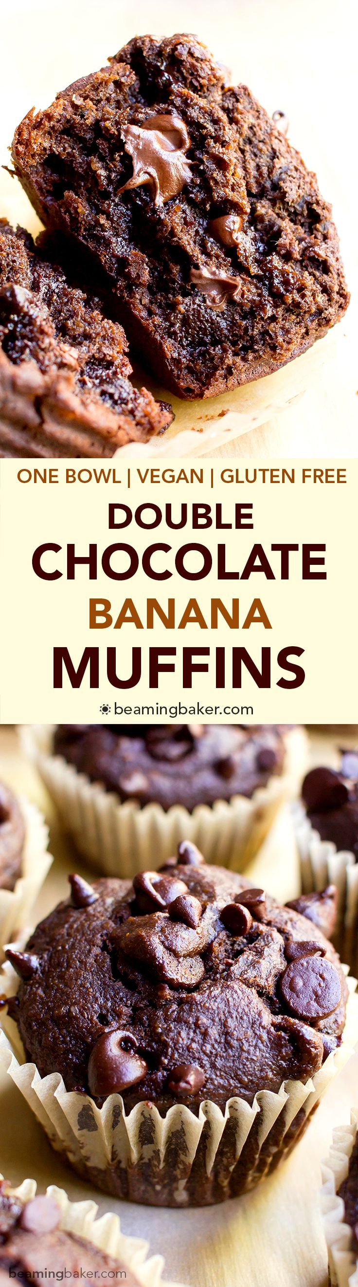 One Bowl Double Chocolate Banana Muffins (V+GF): a one bowl recipe for moist, rich chocolate banana muffins dotted with chocolate chips. Vegan, Gluten Free.