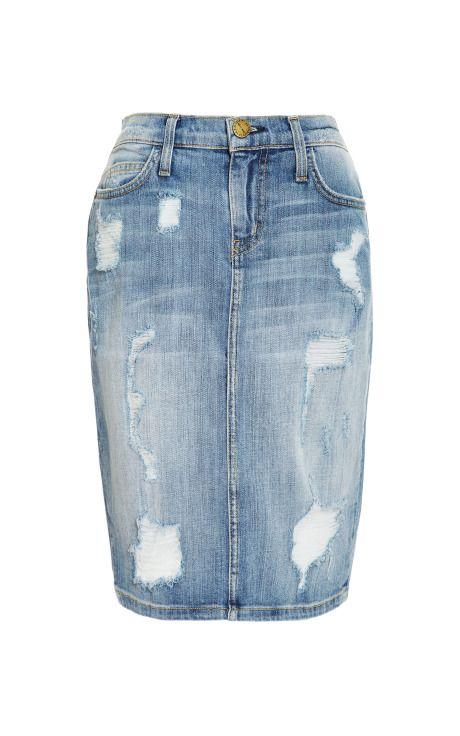 Shop Stiletto Distressed Denim Skirt by Current/elliott Now Available on Moda Operandi