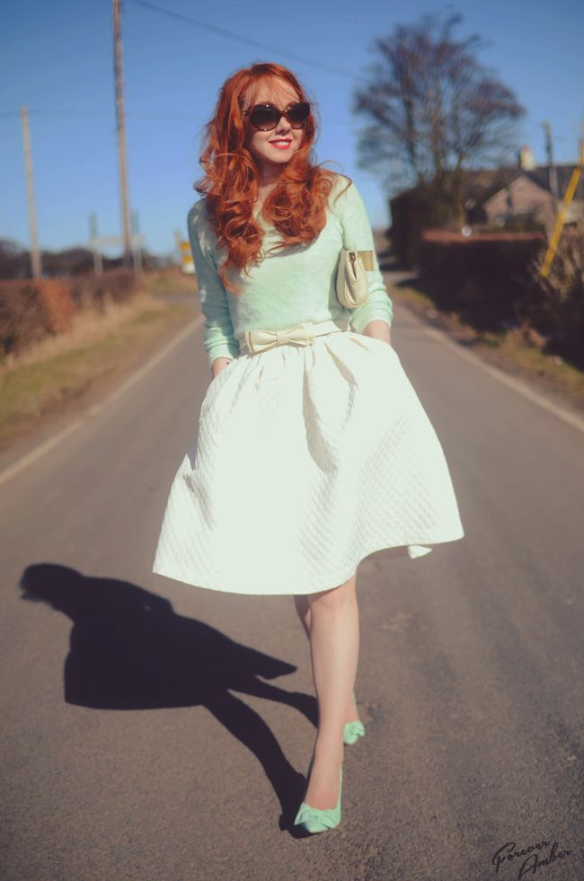 Full white skirt and mint sweater