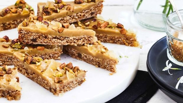 Pistachios add crunch to this gingery slice.