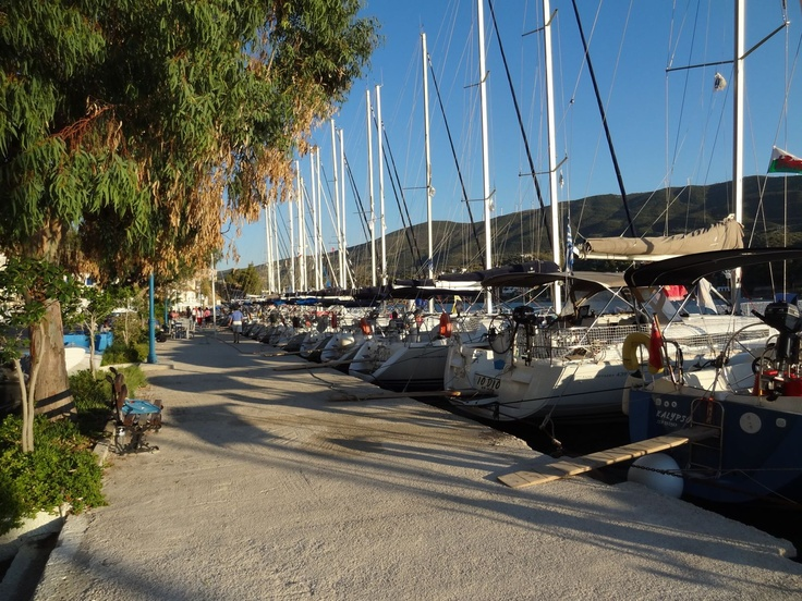 At the beginning of our holiday on the quay at Poros.