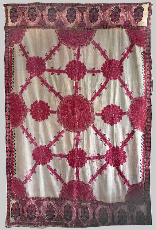 Esther Fitzgerald Rare Textiles. A floss silk embroidered wedding shawl from Sind, India.  Late 19th early 20th century.