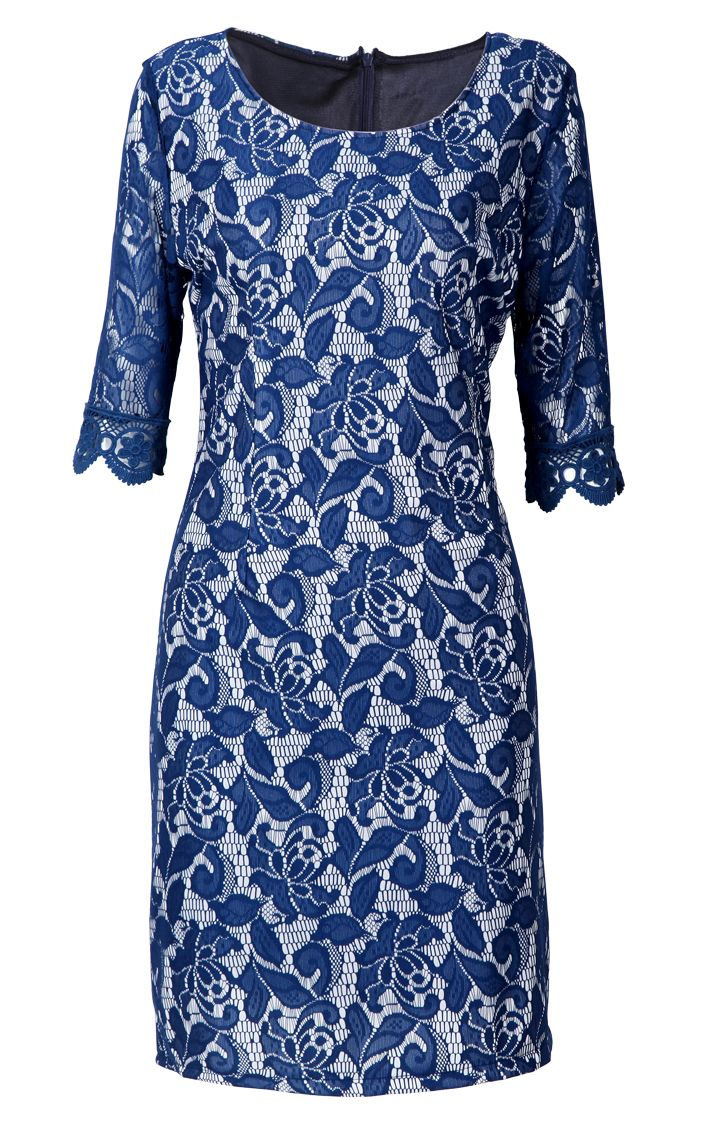 Blue Half Sleeve Embroidery Bodycon Lace Dress