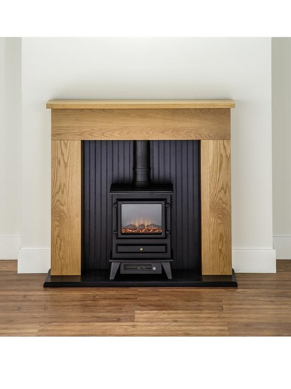 Adam Fire Surrounds Innsbruck Oak Electric Fireplace Suite with Stove | very.co.uk