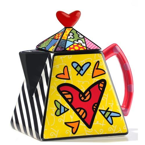 Romero Britto Ceramic Teapot, Square Hearts   eBay