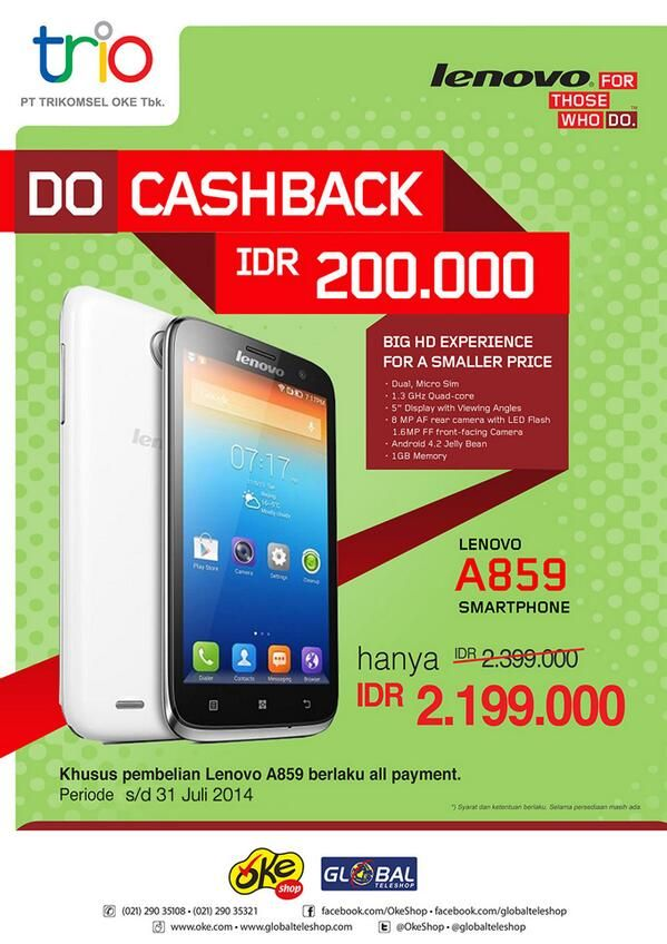 Global Teleshop: Promo Lenovo, Do Cashback IDR 200.000,- @globalteleshop