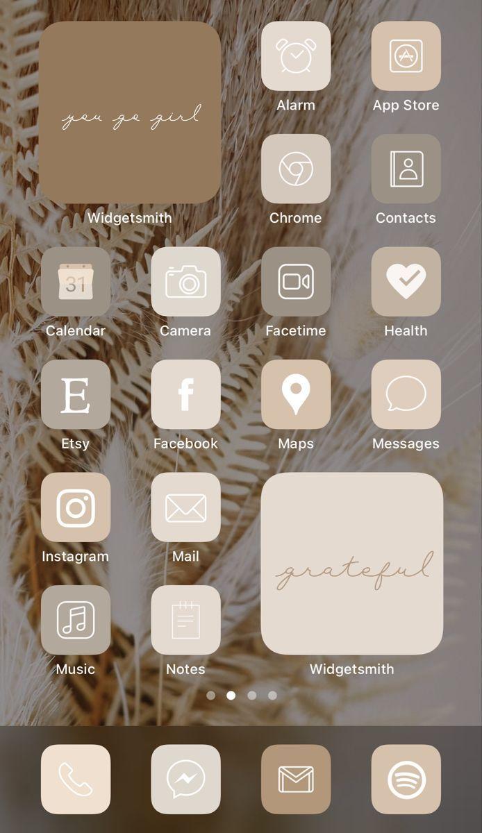 ios beige icons layout ios14 homescreen aesthetics aesthetic icon iphone neutral inspo nude fall phone widgets desktop idea