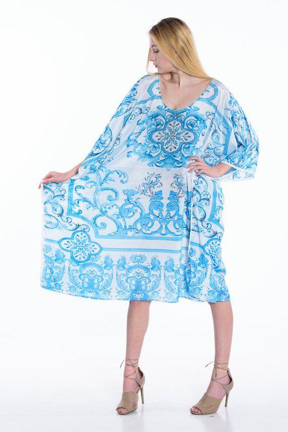 boho tunic poncho beach cover up short kaftan dress caftan with waist tie caftan plus size  tunic