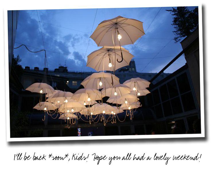 Rain #umbrella #lighting: Mary Poppins, Lighting, Parties, Savory Recipes, Wedding Lights, Umbrellas Lights, Umbrellas Art, Lights Ideas, Umbrella Lights