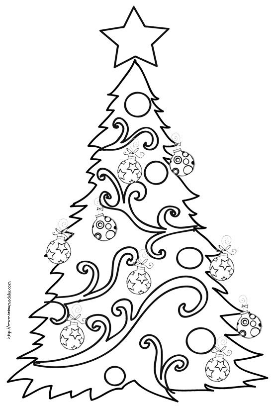 Coloriage du sapin de Noël aux grosses boules dessin 9   Tête à