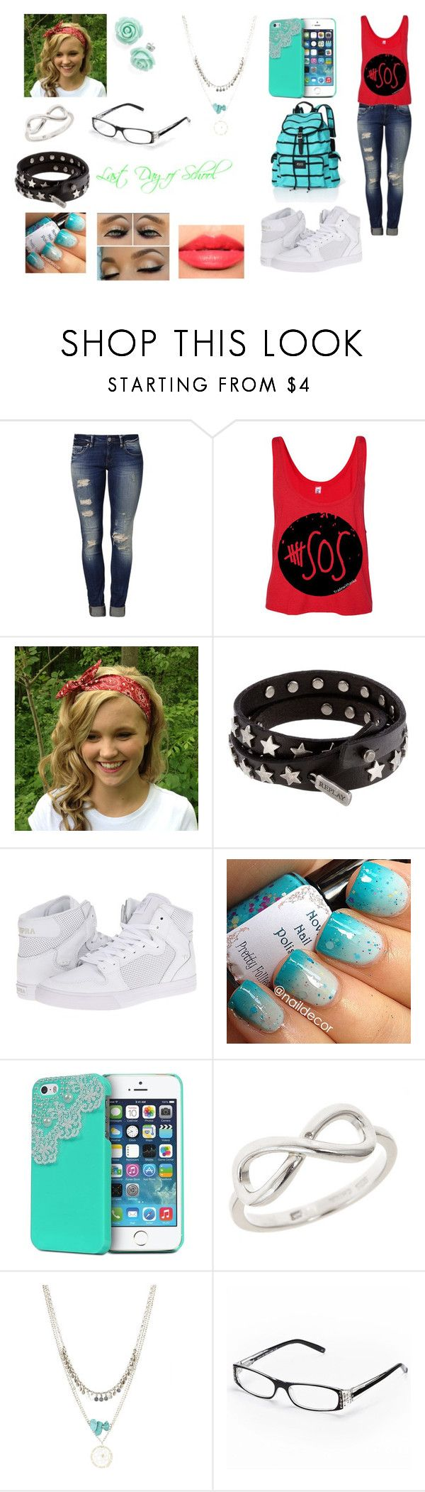 """Last Day of School"" by cherylkinberg97 ❤ liked on Polyvore featuring Mavi, Replay, Supra, INDIE HAIR, Christian Dior, Victoria's Secret, jeans, 5sos, hightops and glasses"