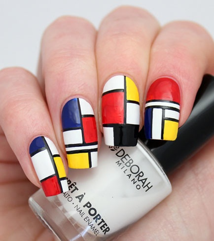 blue, yellow, black, blue and red nails