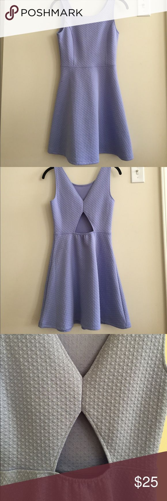Periwinkle Dress with Open Back Feature Bought from Nordstrom, worn only once! Stretchy material makes this Dress easy and fun to wear! Open area in Back gives it a beautiful twist. 98% polyester, 2% spandex. Size small! Frenchi Dresses