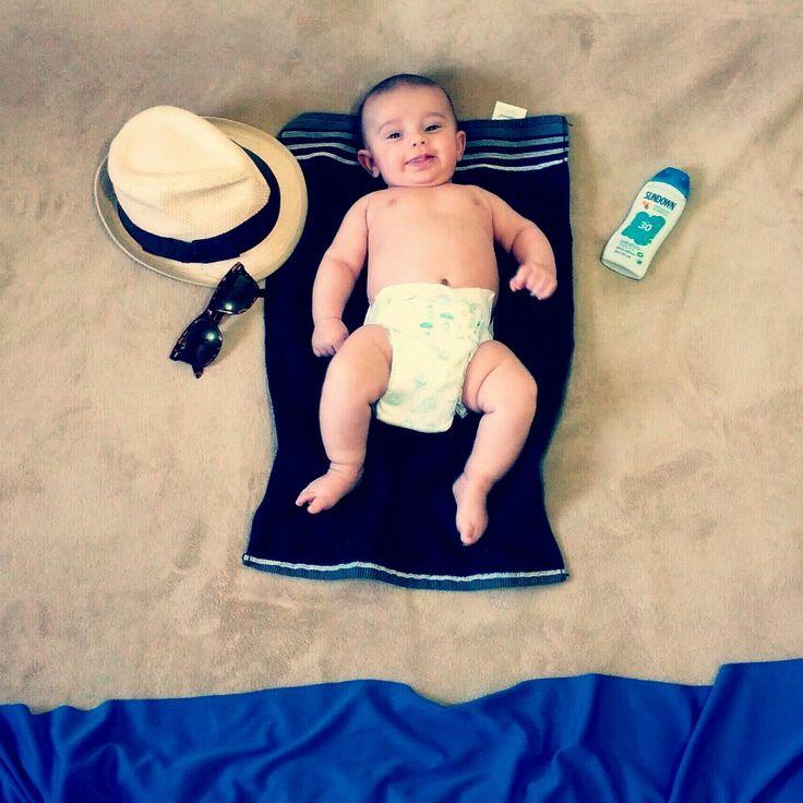 Foto criativa com bebês #bebênapraia
