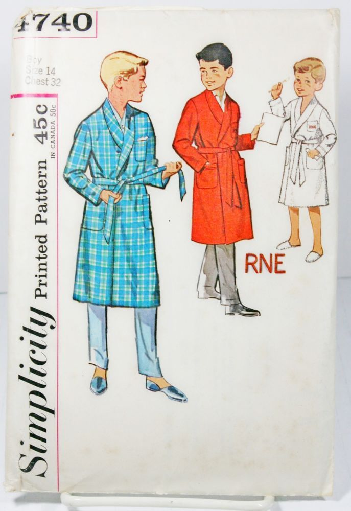 Details about Simplicity 4740 Sewing Pattern Boys Robe Alphabet ...