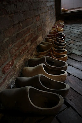Wooden Shoes like those Elsa Brantenberg wore on the farm in THE QUILTED HEART novellas. And Grandfather Goben wore in PRAIRIE SONG.