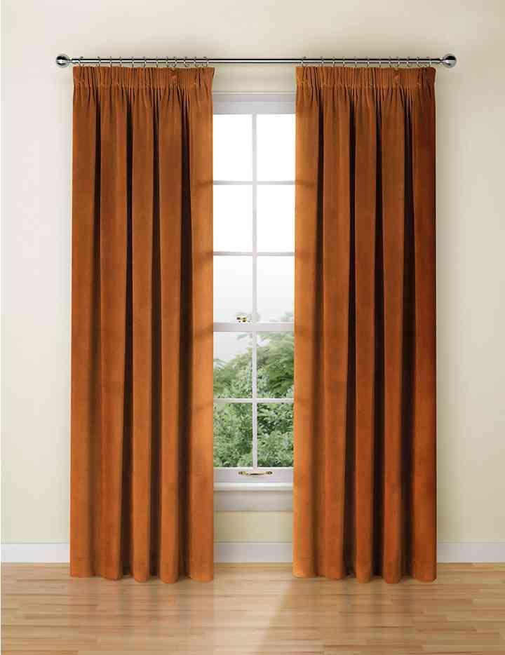 Velvet Pencil Pleat Curtains Burnt Orange Marks And Spencer