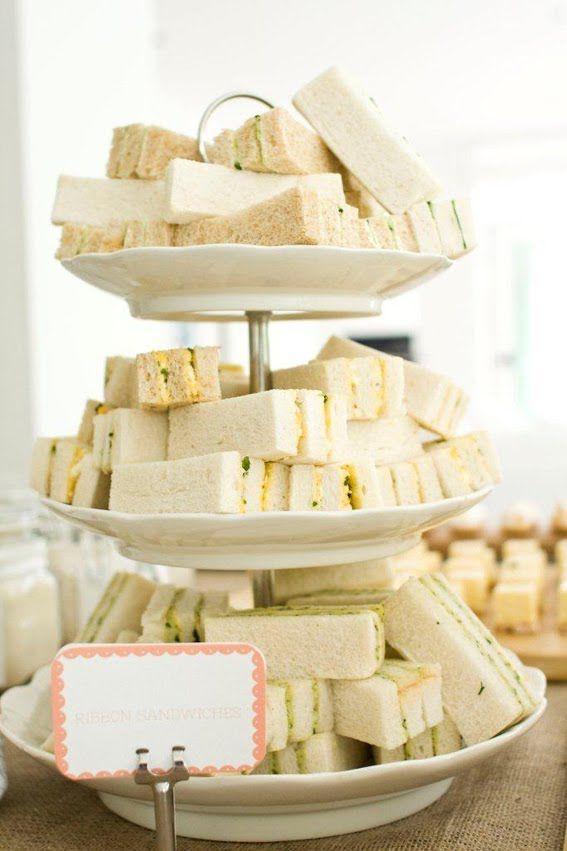 Rustic Baby Shower ----> Finger sandwiches - pimento, cucumber & cream cheese, PB & J, & chicken salad