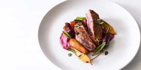 Duck breasts with root vegetables and beetroot puree