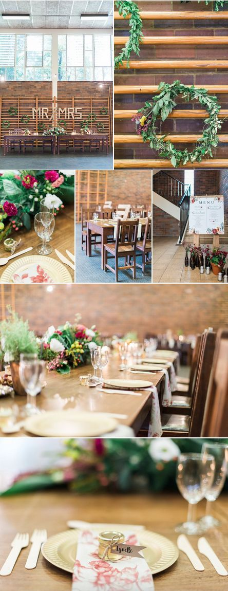 wedding decoration ideas south africa%0A Wedding decor inspiration with wooden elements and tables filled with  greenery and bold florals
