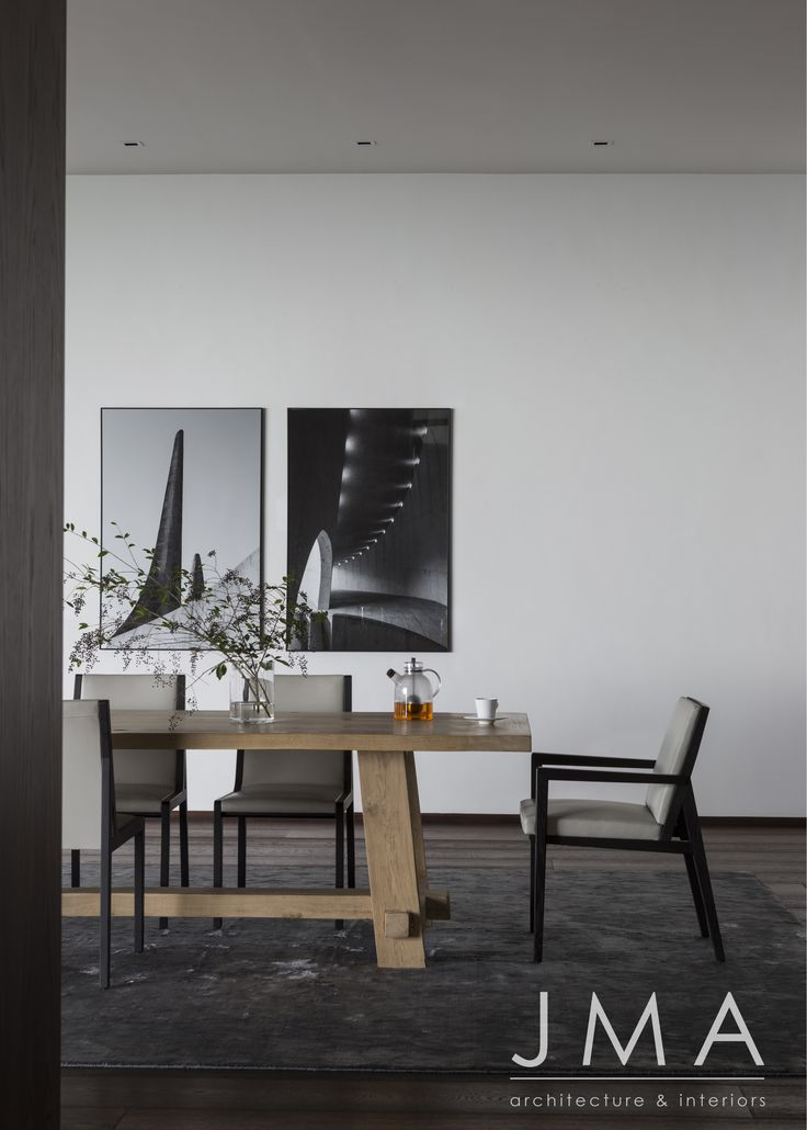 Contemporary, neutral palette dining room.