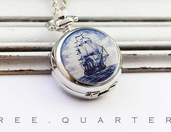 Segelschiff, Schiff, Kettenuhr, maritim, blau, weiß, Meer, See, Taschenuhr, silber, Halskette, Uhr, Wasser, Boot, Ozean, Uhrenkette