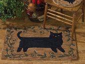Folk Cat Hand-Hooked Rug