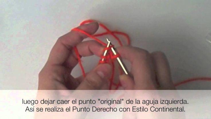 Instrucciones para tejer el punto derecho con estilo Continental en donde el hilado se sujeta con la mano izquierda.