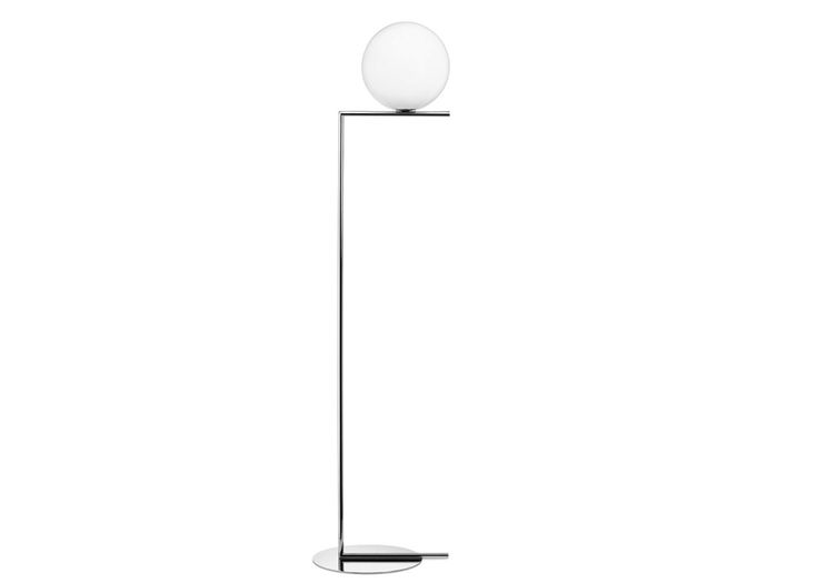 IC F1 Floor Lamp ChromeA beautiful balance of both form and finish, the IC F2's slender silhouette gracefully defies gravity. Characterised by his use of opulent lustred metal and glass, for this seemingly delicate piece designer Michael Anastassiades was inspired by the impressive acrobatics of street performers, distilling their skill and movement into a sculptural floor light.