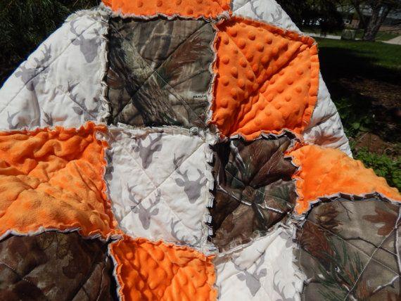 hunting rag quilt realtree camo and orange baby boy blanket buck deer