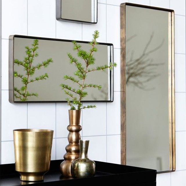 54€ Miroir Rectangulaire Reflection Bord Laiton House Doctor
