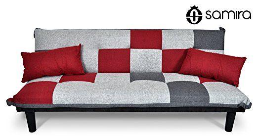 Divano letto in tessuto grigio scuro - rosso - grigio chiaro - Divanetto 3 posti mod. Russell