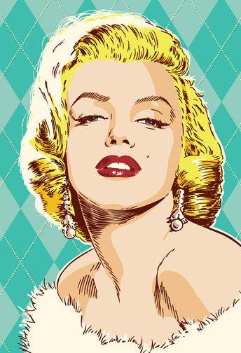 Marilyn Monroe Pop Art Print 18 x 24 and 24 by RedRobotCreative
