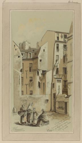 Impasse des Boeufs donnant sur la rue de l'école Polytechnique face à la rue des Sept-Voies (actuelle rue Valette), 5ème arrondissement   Paris Musées
