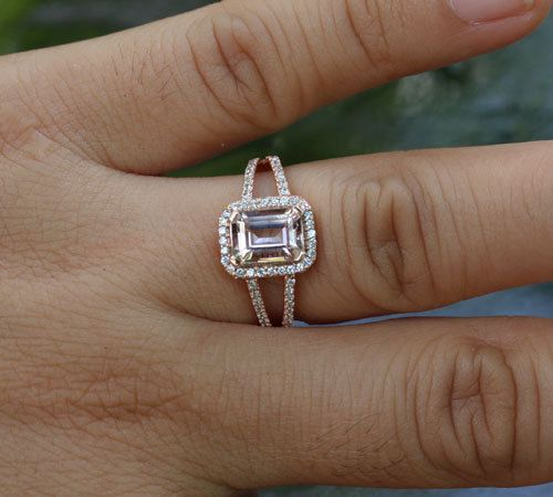 14k Rose Gold Morganite 8x6mm Emerald Cut and by Twoperidotbirds, $950.00