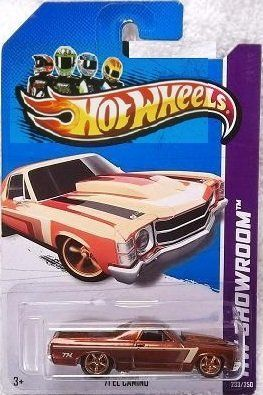 Hot Wheels Super Treasure Hunt - '71 El Camino (Spectraflame Bronze w/Tan, Brown Stripes), Rubber Tires - HW Showroom 2013 - 233/250 [Scale 1:64] by Mattel. $28.49