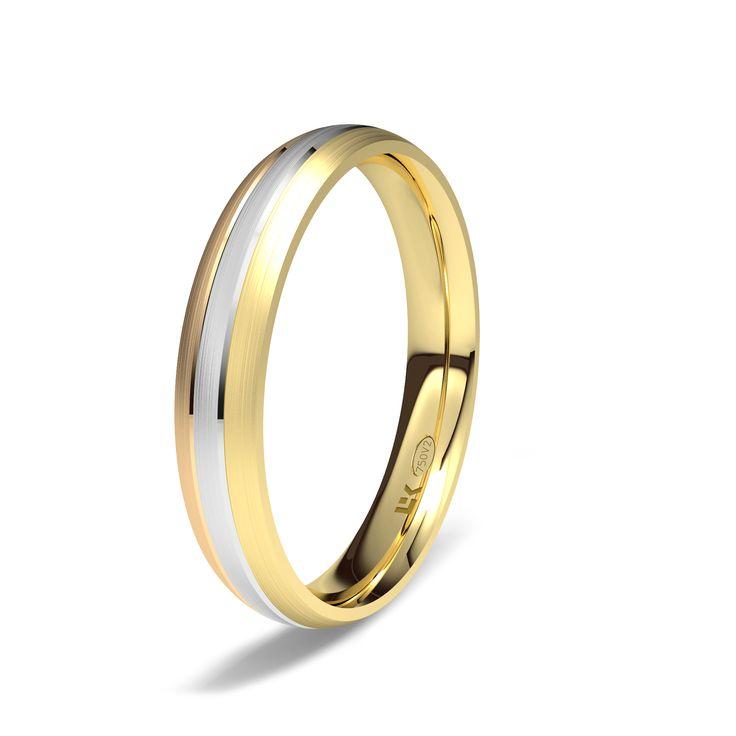 Alianza de oro blanco, amarillo y rojo de 18K modelo Tres colores Oro blanco, amarillo y rojo de 18Kmodelo Tres colores superficie fijo #bodas #alianzas #novia cnavarro.com