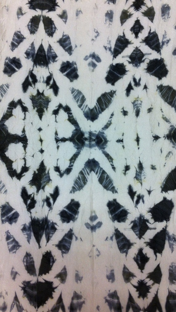 Shibori Silk Scarf tie dye black and white by TaniaBishopDesigns