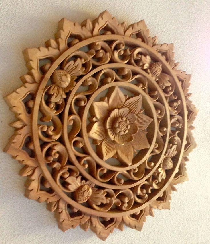 Bali Wood Artwork - A Hand-Carved Wooden Mandala.