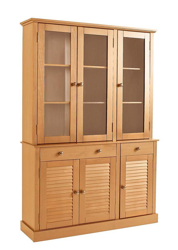 Dieses Buffet ist ein toller Blickfang und bietet viel Stauraum. Aus FSC®-zertifiziertem, massivem Kiefernholz. Natürliches Design mit markanten Lamellentüren für jede Landhaus-Einrichtung.  Innenböden wahlweise aus Glas oder Holz  Oben hinter der linken und mittleren Glastür zwei verstellbare Böden, Fachinnenmaße (B/T/H): 79/21,5/32 cm. Hinter der rechten Tür zwei verstellbare Böden, Fachinnen...