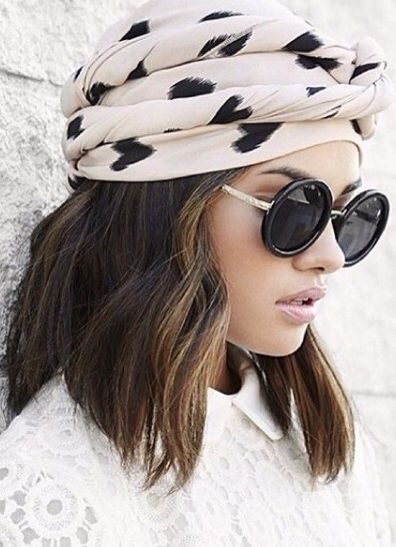black circle sunnies and a stylish turban