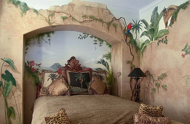 Trompe L'oeil 'broken ruins' bedroom depicting the jungle flora's tendency to retake any ground that isn't vigorously defended.