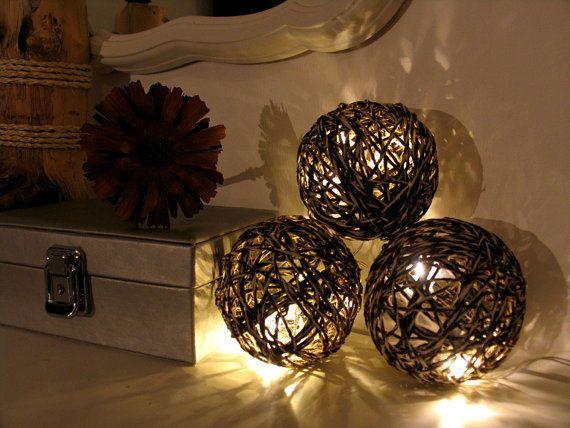 Romantische Tischdekoration Lichterkette aus Garn Modernes Designe NEU