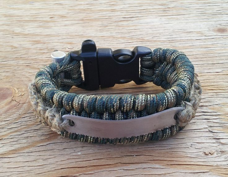 Literaly this does it all ! ! ! Magnesium and fire flint toggle, Emergency whistle buckle, 14' Paracord, 3' jute fire tender, name tage is a saw, knife and a signal morror. Inside is 2 #6 fish hooks and 4 3/0 split tin fishing sinkers. The internal strands of the paracord IS the fishing line.