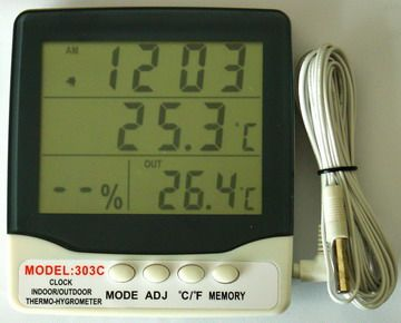Indoor / Outdoor Thermometer Hygro and Clock AT-303C