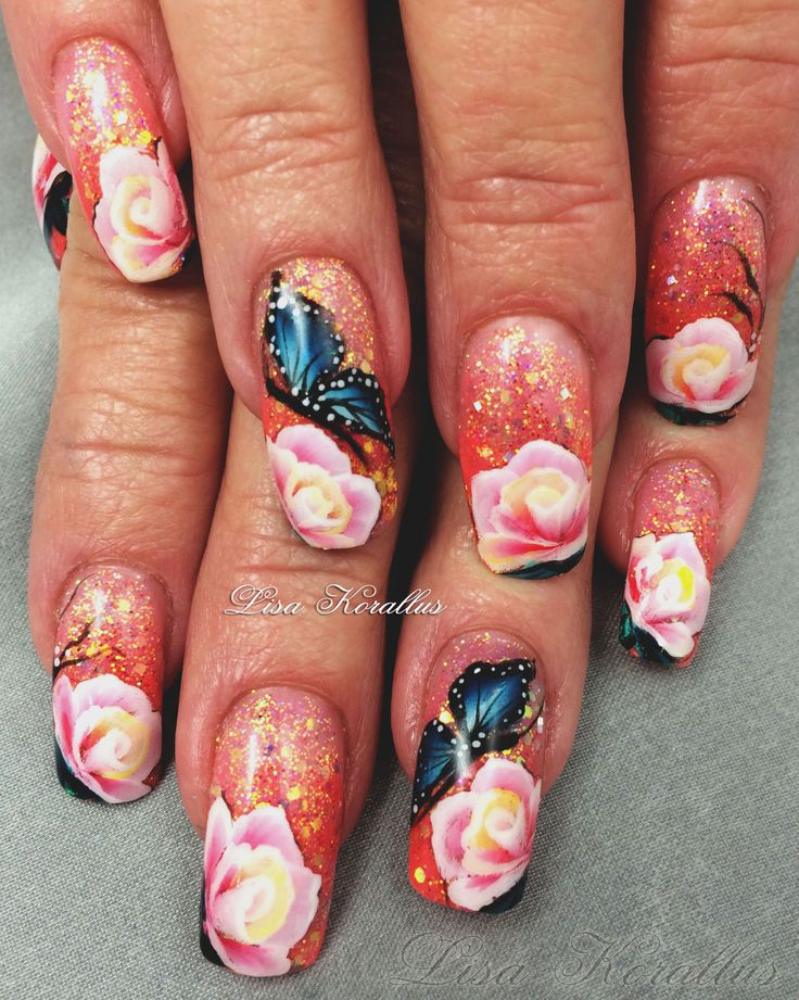 Floral Manicures For Spring And: Gel Overlay With Hand Painted Flowers. #floralnaildesign